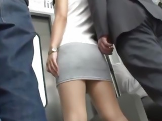 Satomi is fucked in subway orgy