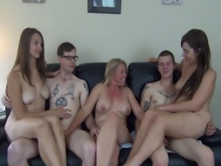 Two Guys coupled with Two Girls Directed by a Milf