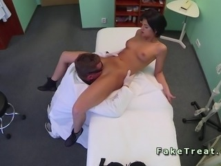 Doctor tries to seduce his patient in an office of fake asylum balk failed...