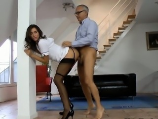Teen brit jerks old cock