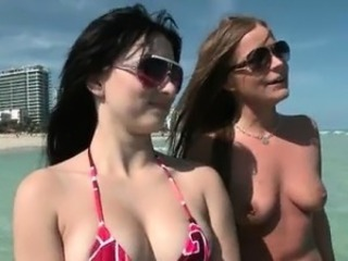 Brunette slut is topless and she part3