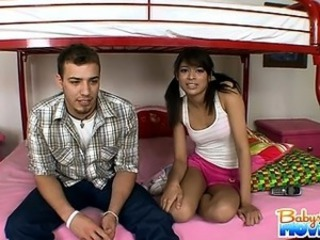 18 year old teenie babysitter Adriana Nevaeh gets caught