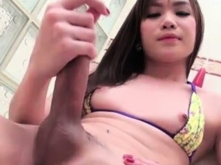 Teen asian shemale jerking her hard dick