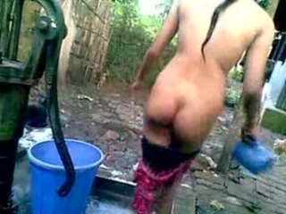 Desi Girl Bathing Outdoor free