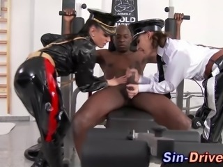 Latex clad dominas tug huge black cock in hi definition