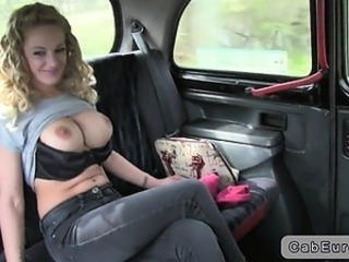 Huge tits British blonde in fake taxi flashing