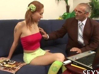Lusty old teacher blown by a ginger schoolgirl