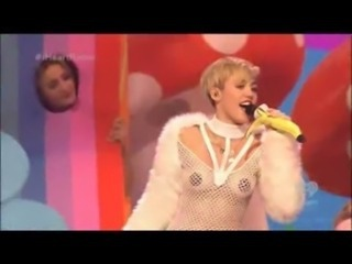 Miley Cyrus live performance wearing pasties and a thong free