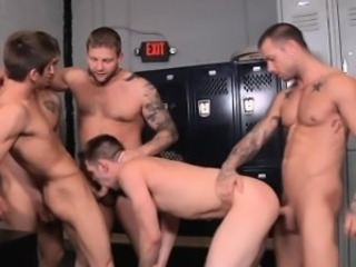 Twink brutally double anal gangbanged in this gay orgy!