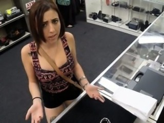 Big tits redhead fucked in the pawnshop to pay off her chain
