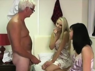 Older guy strips for British CFNM babes in fetish blowjob