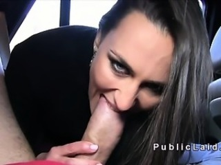 Cute busty Czech fucking in burnish apply car pov in public
