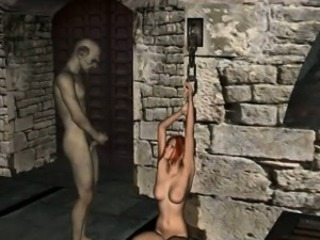 Foxy 3D redhead babe getting fucked by a goblin