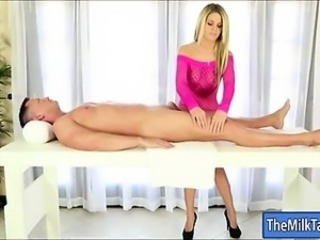 Sexy masseuse sucks off cock and facialed under the table