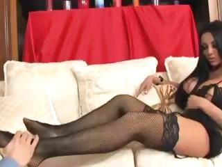 Brunette babe uses the brush talented feet to jack stay away from this cock
