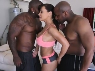 Sweet babe Lisa Ann fucking two huge black cocks