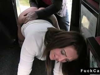 Brunette babe fucked on the floor in fake hansom cab