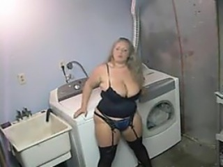 BBW With Just Lingerie In The Laundry Room