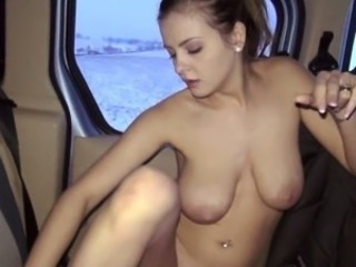 Czech slut Alexa flashes her big boobs and fucked in public