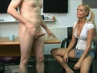 Cfnm blonde pussy touching off the meat stick