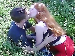 Redhead Russian Teen Babe Outdoor Drag inflate And Fuck W Caitiff public schoolmate