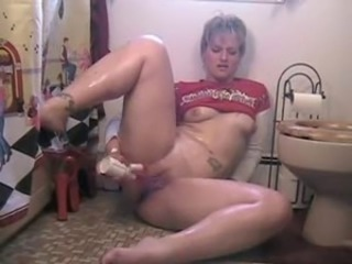 Amateur Chubby Masturbating  Mom Solo Squirt Tattoo Toilet Toy