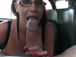 Huge Tits Slutty Customer In Glasses Fucked With Fake Driver