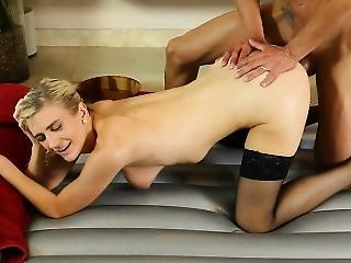 Masseuse In Black Stockings Gives Footjob And Gets Fucked