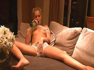 Hammered Blonde Decides To Use The Infuse Bottle To Please Herself.