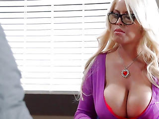 Huge Tits Blonde Office Bitch Fucked During A Bank Robbery