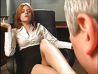 Redhead Brass hat Makes Him Swell up Her Feet