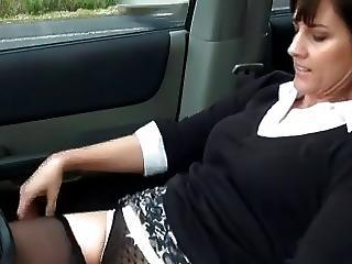 Horny Mature Masturbating In Her Motor vehicle