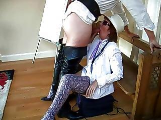 Milf In Snakeskin Thigh Boots Sucks Guys For Charity