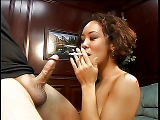 Short Haired Asian Sucks Cock While Puffing Gasper