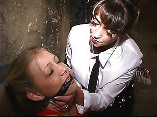 A Hot And Niggardly Blonde Gets Bound And Gagged By A Dominatrix