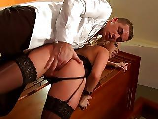 Sexy Blonde Keeps Say no to Corset And Stockings Aloft During Steamy Love Sesssion