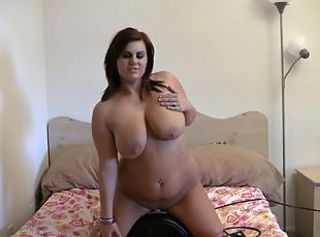 Curvy brunette fucks a sex machine with her moist pussy _: big boobs masturbation tits redheads toys
