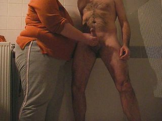 Amateur Bathroom Handjob Homemade Older Wife