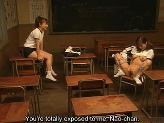 Subtitled Tribade Japanese Schoolgirl Cl...