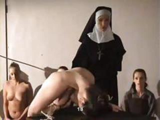Girl hard spanked by nun