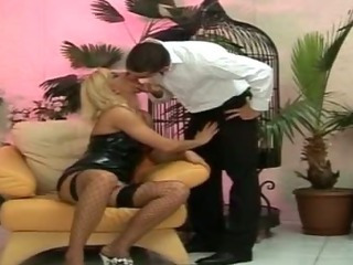 Slut In Stockings Sucking Cock