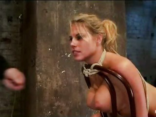 Gaffer Bound Blonde Clit Vibed And Ass Caned