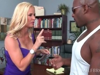 Hot MILF stripped and fucked on the brush desk