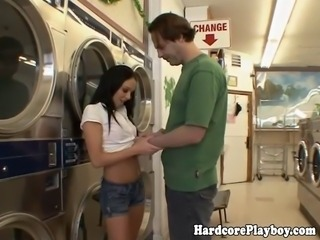 Amateur babe banged in the laundromat close up and loving it