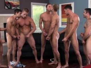 Beefy straight dude enjoying gay orgy