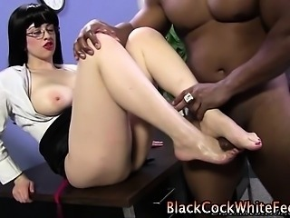 Slut in spex foot fucked
