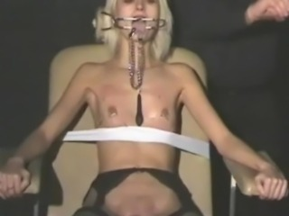 Blonde submissives bizarre cumshot torture and gags