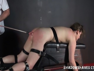 Tyro depending Jannas electro bdsm  in private english dungeon of busty...