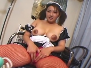 Attractive Oriental maid has her bush boned fat