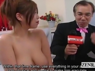 Subtitled CMNF voluptuous Japan soapland queen handjob